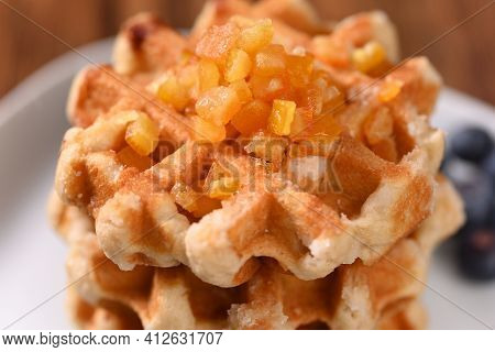 Appetizing Waffles With Jam For Dessert, Close Up.