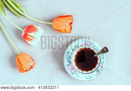 Alternative Coffee Substitute: A Hot Decaffeinated Drink Made From Natural Chicory, On The Table In