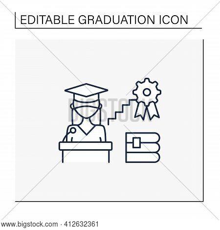 Academic Career Line Icon. Personal Growth. Motivation Speech. Work At University. Professor Career.