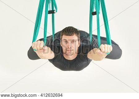 Male Person Do Hammock Yoga Class Exercise. Meditation In Air Calm. Aero Beginner Studio Workout. Ma