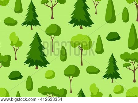 Seamless Pattern With Trees, Spruces And Bushes.