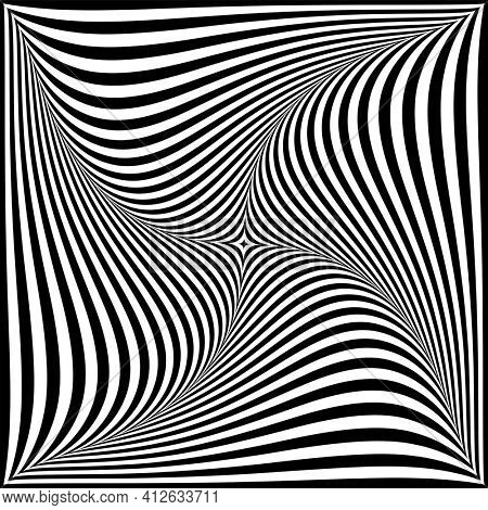 Whirl twisting movement illusion in abstract op art design.