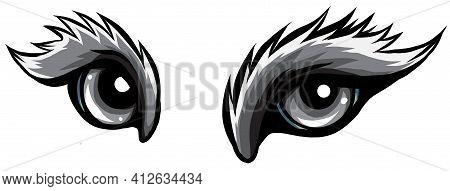 Monochromatic Beast Eyes Logo Icon Vector Illustration Design