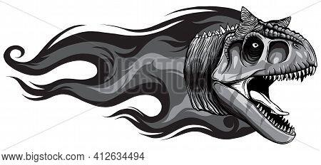 Monochromatic Dinosaurus Carnosaur Head Art Vector Illustration Design