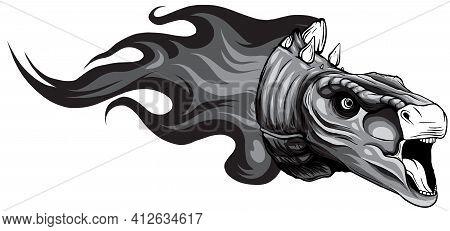 Monochromatic Dinosaurus Stegosaurus Head Art Vector Illustration Design