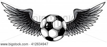 Monochromatic Football Ball With Wings Emblem Soccer Design Vector