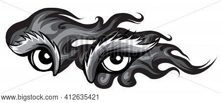 Monochromatic Animal Eye Vector Illustration In White Background