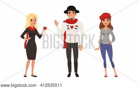 Male And Female Parisian Characters Wearing Red Scarf And Beret Waving Hand And Holding Glass Of Win