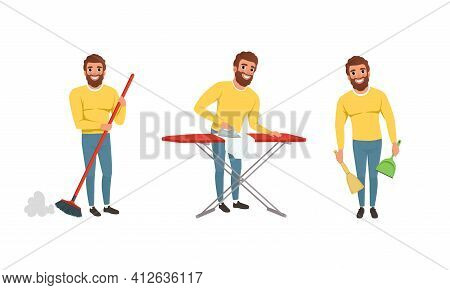 Happy Bearded Man In Yellow Sweater Sweeping The Floor With Broom And Ironing Vector Set