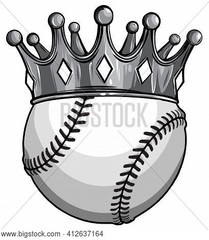 Monochromatic King Of Baseball Concept, A Baseball Ball Wearing A Gold Crown Vector
