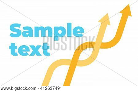 Two Upward Intertwining Trend Arrows With Space For Text. Price Rise. Banner Template