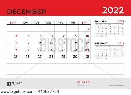 Desk Calendar 2022 Design, December 2022 Template, Week Start On Sunday, Planner Design, Wall Calend