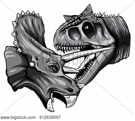 Monochromatic Vector Tracing Of Dinosaur Tyrannosaurus Is Fighting Triceratops In Watercolor Style