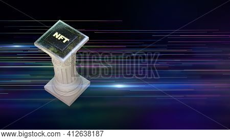 Nft Non Fungible Tokens Crypto Art On Colorful Abstract Background. Antique Pillar With Chip Pay For