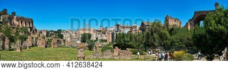 May 17, 2017 - Rome, Italy: Large Horizontal Panorama With View Of The Roman Forum Showcasing The Ta