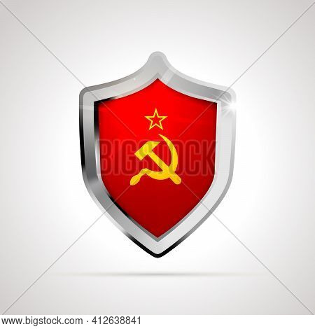 Ussr Flag Projected As A Glossy Shield Isolated On White Background