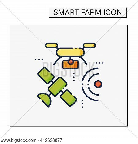 Drones Photography Color Icon. Provide In-depth And Varied Data For Their Clients. Used For Classifi