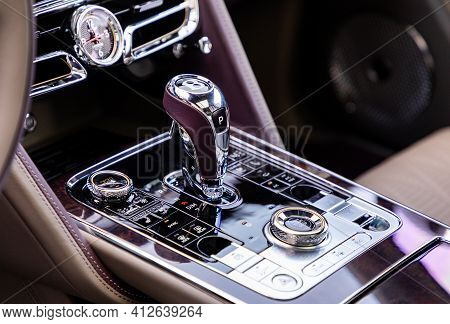 Prague, Czech Republic - January 11, 2021: Gear Shift Of Luxurious Bentley Vehicle In Prague, Czech