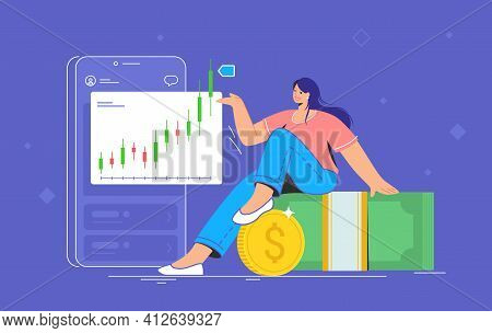 Money Investing And Taking Profit. Flat Vector Illustration Of Cute Smiling Woman Sitting On Dollar