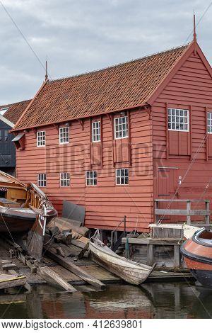 Wooden Ship Wharf In Spakenburg Bunschoten, Netherlands
