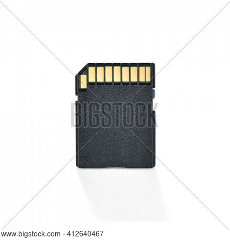 SD flash memory card isolated on white background