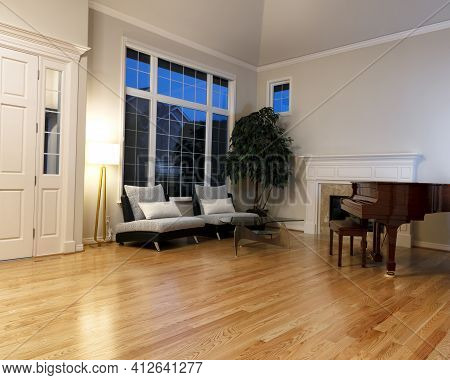 Modern Living Room With Real Oak Hardwood Floors, Piano, Fireplace And Large Windows During Evening