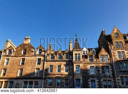 Typical sandstone terraced houses in Edinburgh, Scotland, UK
