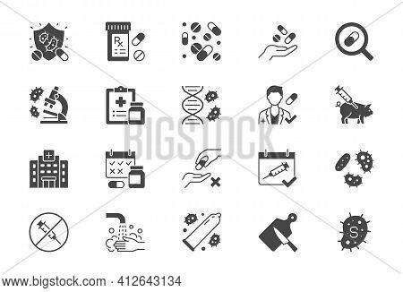 Antibiotic Resistance Flat Icons. Vector Illustration Include Glyph Icon Pills, Bacteria, Genetics,