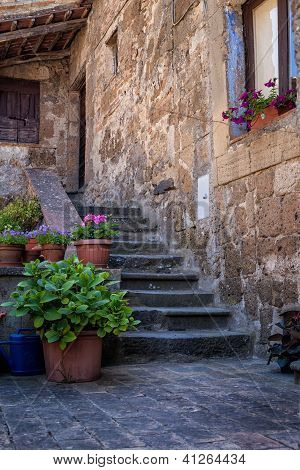 Steps with terracotta planters, Italian Architecture - Umbria