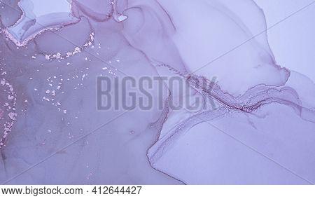 Purple Liquid Paint. Metallic Gray Alcohol Oil Background. Marble Abstract Design. Grunge Liquid Pai