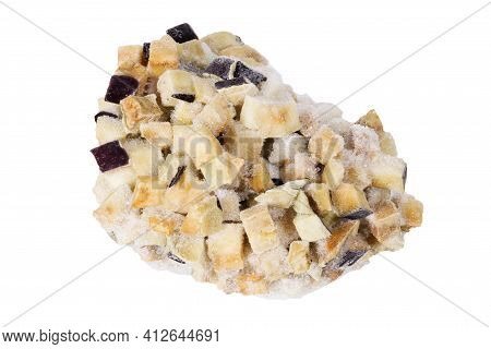 Frozen Sliced Eggplant Pieces On An Isolated White Background. Frozen Eggplant Slices. Frozen Food O