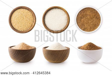 Heap Of Cane Sugar, White And Coconut Sugar Isolated On White  Top View. Brown And White Sugar Isola