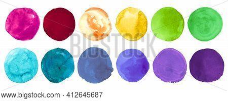 Bright Colorful Watercolor Circles. Set Of Abstract Ink Blots. Stroke Drops Illustration. Brush Wate