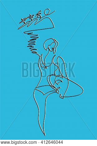 One Line Drawing Of Surfer Woman. One Continuous Line Drawing  Surfer Girl In Bikini With Surfboard.