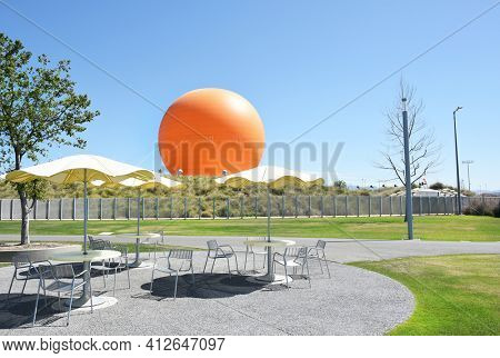 IRVINE, CA - MARCH 24, 2017: Tethered Balloon at the Great Park in Irvine. The Great Park attraction provides visitors with an aerial view of the region.