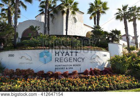 HUNTINGTON BEACH, CALIFORNIA - 22 JAN 2020: Sign at the Hyatt Regency Resort and Spa on Pacific Coast Highway.