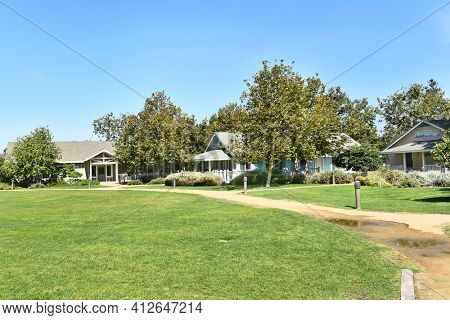 IRVINE, CA - JULY 9,2016: Irvine Ranch Water District Learning Center. The Sea and Sage House and the Marsh house are two of the historic Irvine Ranch buildings restored and moved to the center.i
