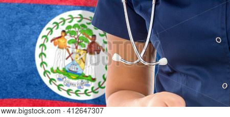 Belize Flag Female Doctor With Stethoscope, National Healthcare System