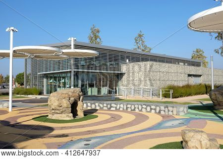 IRVINE, CA - OCTOBER 14, 2016: Great Park Visitor Center and Balloon Ride. The Orange County Great Park is being built on the decommissioned Marine Corps Air Station, El Toro.