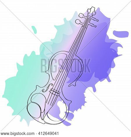 Electronic Violin On A Blue-blue Gradient Background