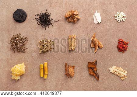 Traditional Chinese Medicine. Various Medical Herbs. Monk Fruit, Luo Han Guo, Reishi Mushroom, Goji