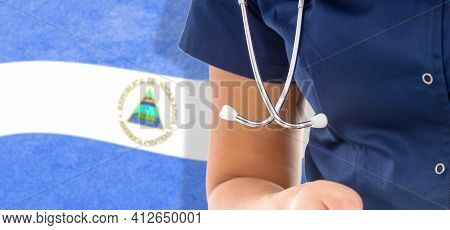 Nicaragua Flag Female Doctor With Stethoscope, National Healthcare System