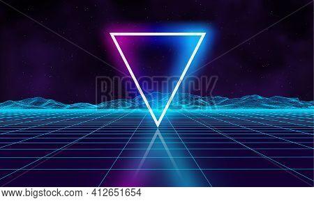 Retro Futuristic Background For Game. Music 3d Dance Galaxy Poster. 80s Background Disco. Neon Trian