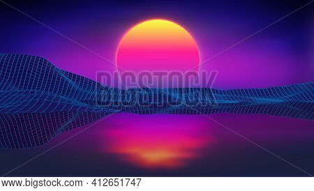 Retro Background Futuristic Landscape 1980s Style At Sea. Digital Retro Landscape Cyber Surface. Ret