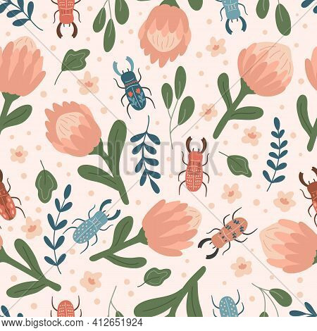 Spring Floral Seamless Pattern With Protea And Stag Beetles. Hand Drawn Doodle Flowers, Plants And I