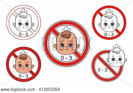 Not Suitable For Children From 0-3 Year Icons Set. Little Boy Face With Caution Sign. Warning Danger
