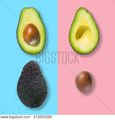 Top View Of Fresh Ripe Whole Avocado Fruit, Cut In Half And Bone Isolated On Multicoloured Backgroun