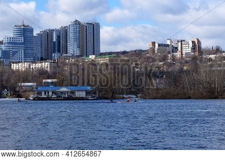 Dnipro, Ukraine, March 2021. Ukrainian City Of Dnepr (dnepropetrovsk). Nice View Of The River, Moder