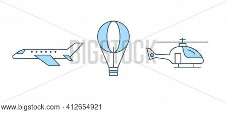 Set Of Three Air Types Of Transport Vector Flat Line Illustration Isolated On White Background. Plan