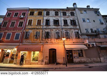 Rovinj, Croatia - May 22, 2020: View On Bright Building Exteriors Of Coastal Town Of Rovinj, Istria,